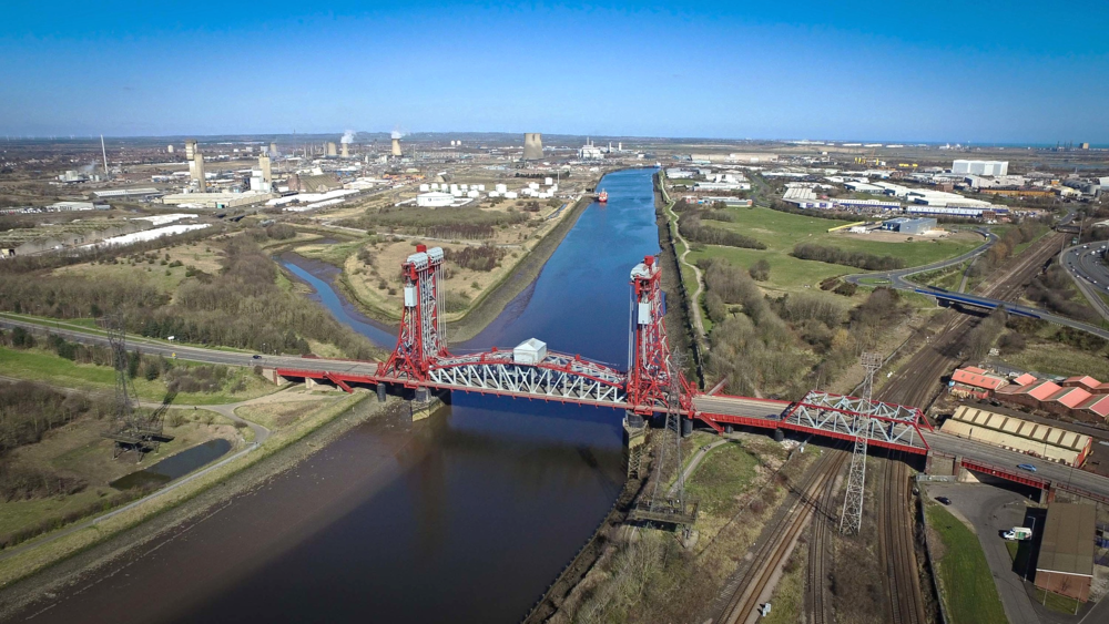 The Tees Newport Bridge is a vertical-lift bridge spanning the River Tees a short distance upriver from Tees Transporter Bridge, linking Middlesbrough with the borough of Stockton-on-Tees, in the northeast of England