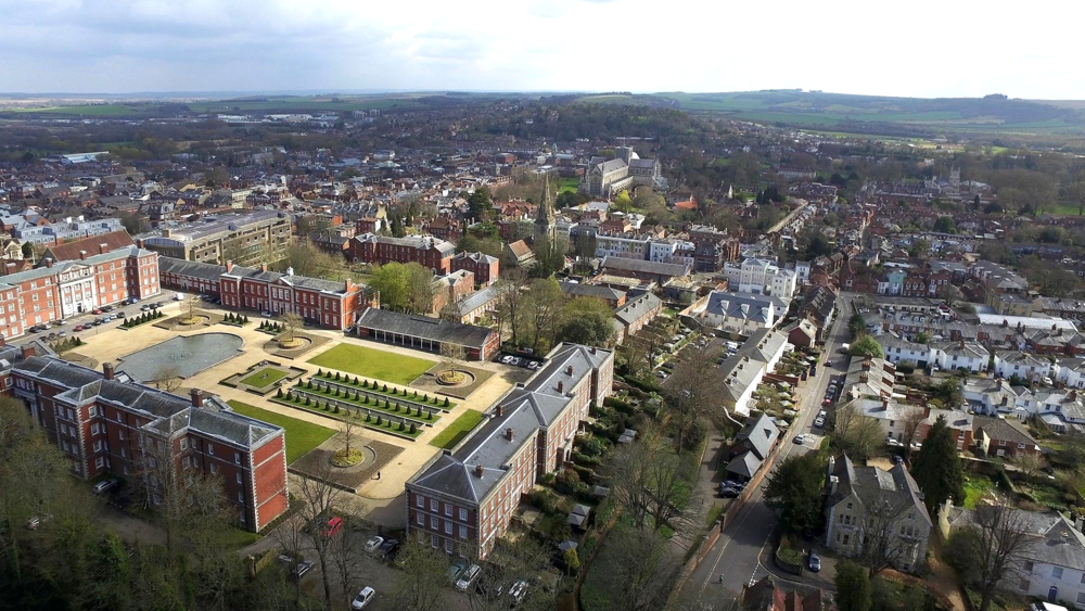 Aerial Photography Winchester City Centre By Drone