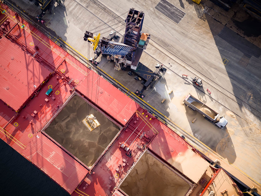 Aerial Photography Docks Bulk Carrier Vessel