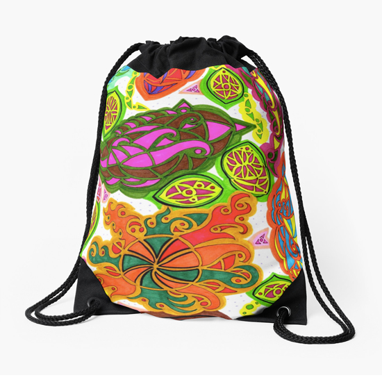 aubergine drawstring bag