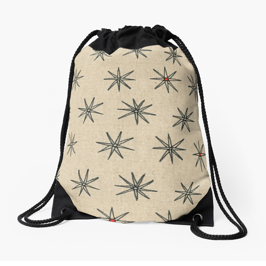 red dot drawstring bag