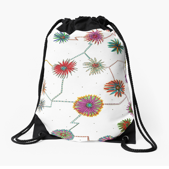 travelling daisy drawstring bag