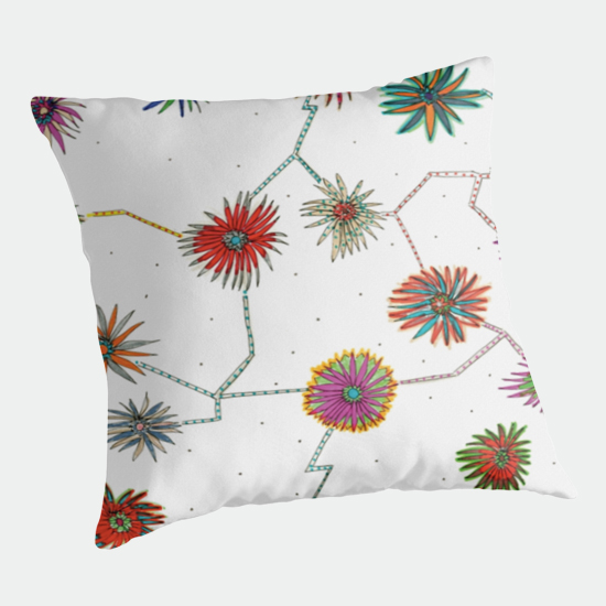 traveling daisy throw pillow