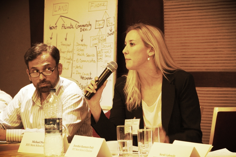 Professor Rezaur Rezak (BRAC University Business School) and Dorothée Baumann-Pauly in Dhaka, May 2014