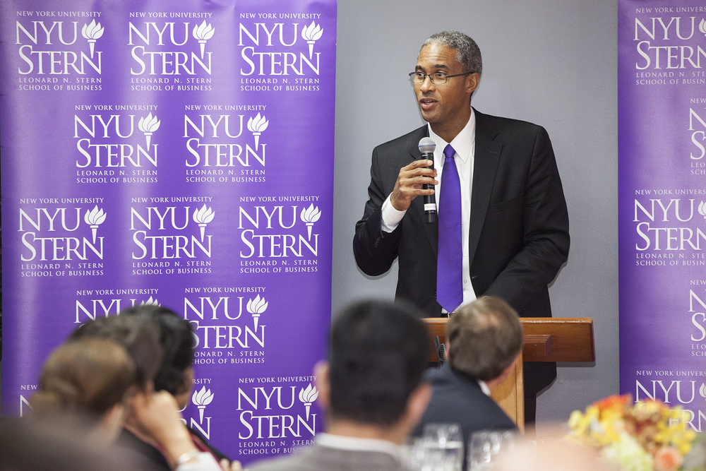 NYU Stern Dean Peter Henry speaking at the Center's first Bangladesh convening, September 2013.