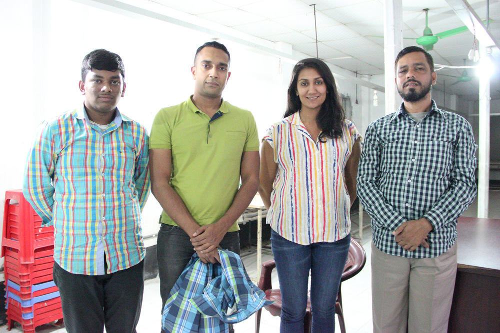 Graduate fellow Nayantara Banerjee (Gallatin '15) visits a subcontracting factory in Dhaka, Bangladesh, December 2014.