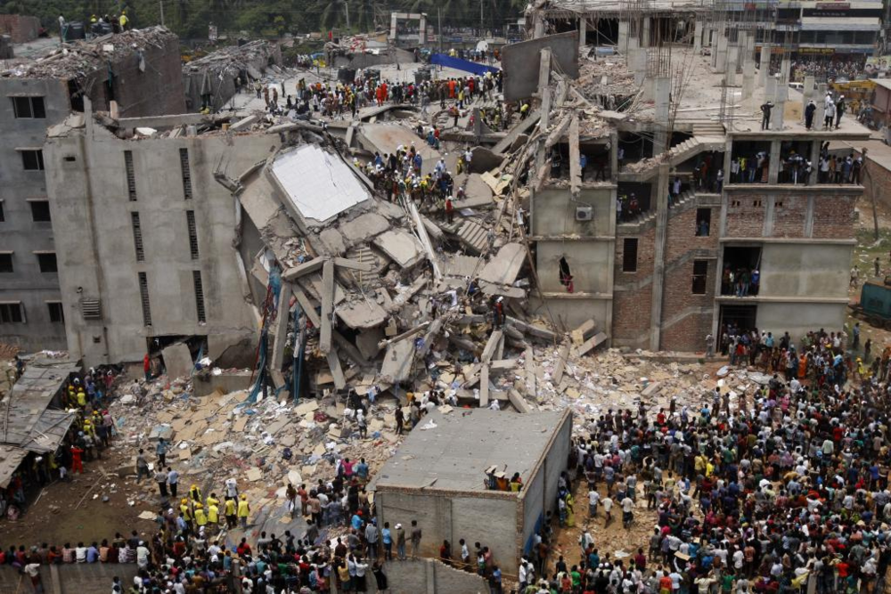 The ruins of Rana Plaza where more than 1,100 workers died, May 13, 2013. Photo credit: Jaber Al Nahian