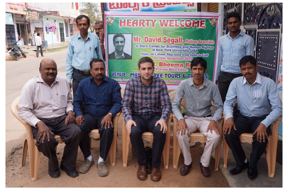 David Segall in the village of Kamareddy, where he meets with a recruitment sub-agency.