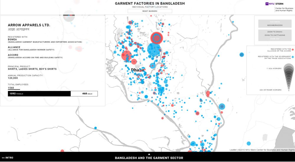 NYU Stern Center for Business and Human Rights Interactive Map of Bangladeshi factories