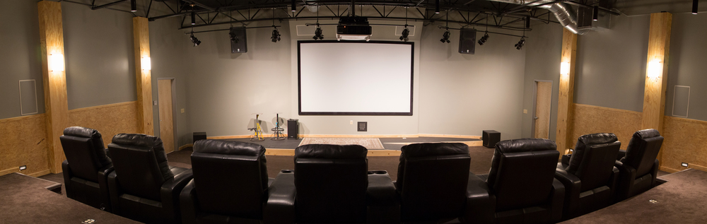 Probably the coolest room of the new space--the theater. We like to do all-staff Mini Movie screenings when we release new ones. That will happen a lot in here.