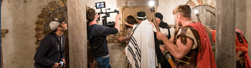 Shooting the scene at Caiaphas' house.