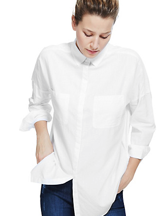 It is the softest drape and perfect white all for £28  Oblong Hem Boyfriend Shirt