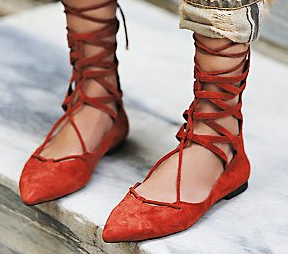 Shay Lace Up Flats at Free People £100 in orange, navy, grey and black