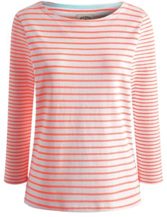 Joules Orange Stripe Harbour Womens Striped Jersey Top £24.95