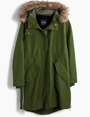 Side-Zip Filed Parka from Madewell £218.79  in green and black