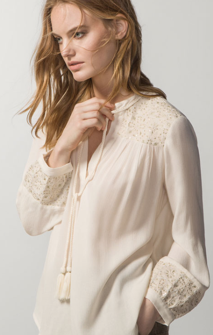 Flowing Blouse with Embroidery £39.95 Massimo Dutti