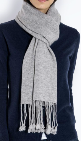 Maison Cashmere Fringe Scarf £70 available in black, navy, dark grey, light grey and powder