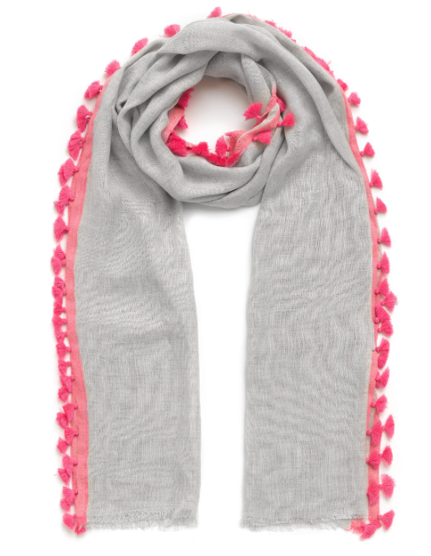 Jigsaw PomPom Scarf £49 available in grey, oatmeal, teal and aqua