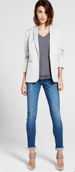 Mint Velvet Easy Boyfriend Blazer in chalk £109