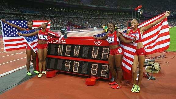 US Olypic womens 4 x 100 m WR winners photo