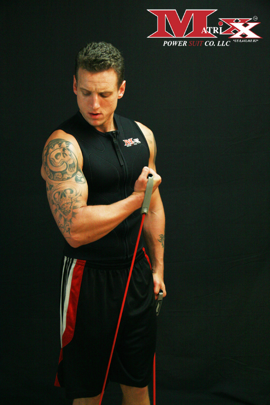 Arm curls w resistance bands