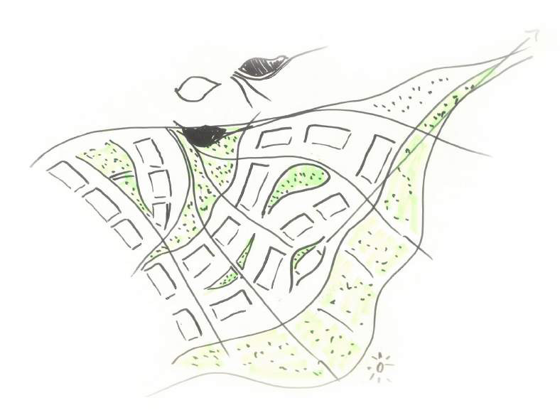 Sketch of Pomezi residential masterplan