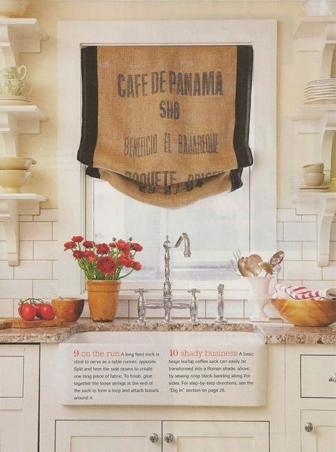Grain or flour sack can become a window treatment. Clever use of trim to widen the sack to fit the window.