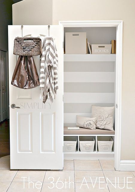 Short on space? Turn a closet into a mudroom.