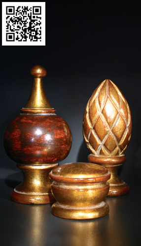 Gold foil adds glam to these finials.