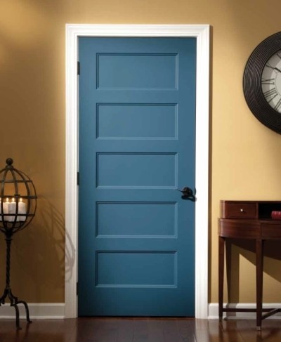 Colonial blue looks modern with the khaki walls.