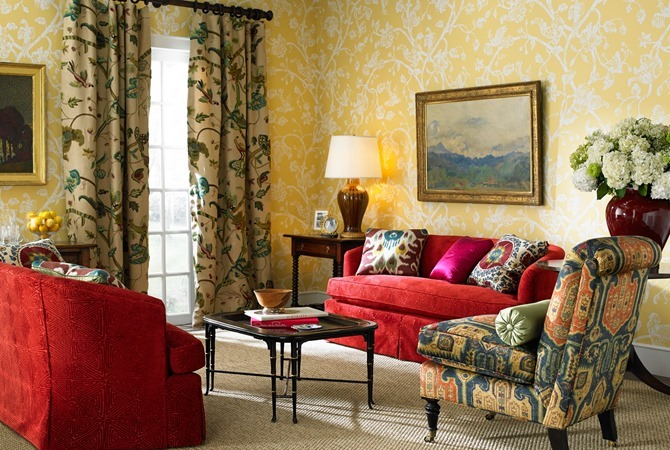 Morning-Glory-wallpaper-Cosimo-Crewel-drapery-panels-Prescott-chair-in-Parnook-fabric-Oscar-de-l