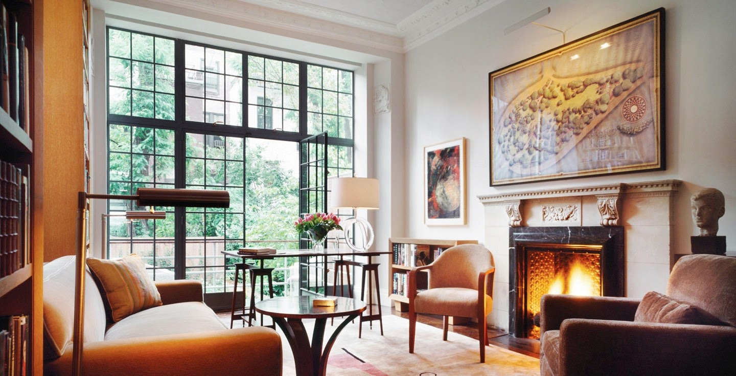 den library townhouse nyc carved fireplace black windows cut up cococozy rees roberts