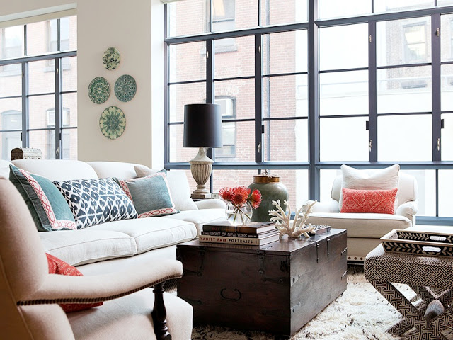 jenny wolf interiors loft floor to ceiling windows brick wall view black trim