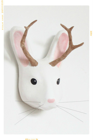 Paper_Mache_White_Jackalope_Head_Mount_Macheanimal_Fleur_Dot_Wall_Home_Handmade_Woodland_Animal_Nursery_Decor_1_large