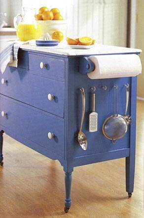 This dresser remake is perfect for a small kitchen.  It is very efficient!