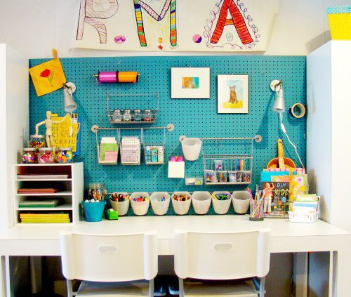 Painted pegboard! Minus all the crafting supplies!