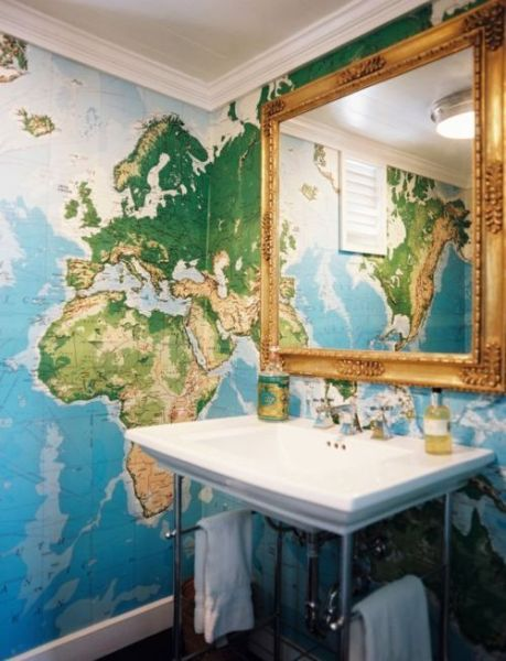 This map wallpaper is the perfect backdrop to this simple pedestal sink.