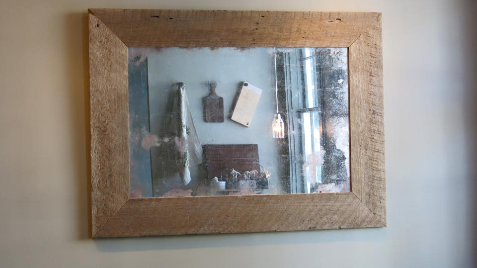 Barn board framed mirror with antiqued mirror glass!