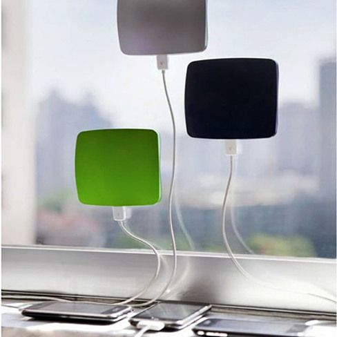 These cling to a window and use the power of the sun to charge devices.