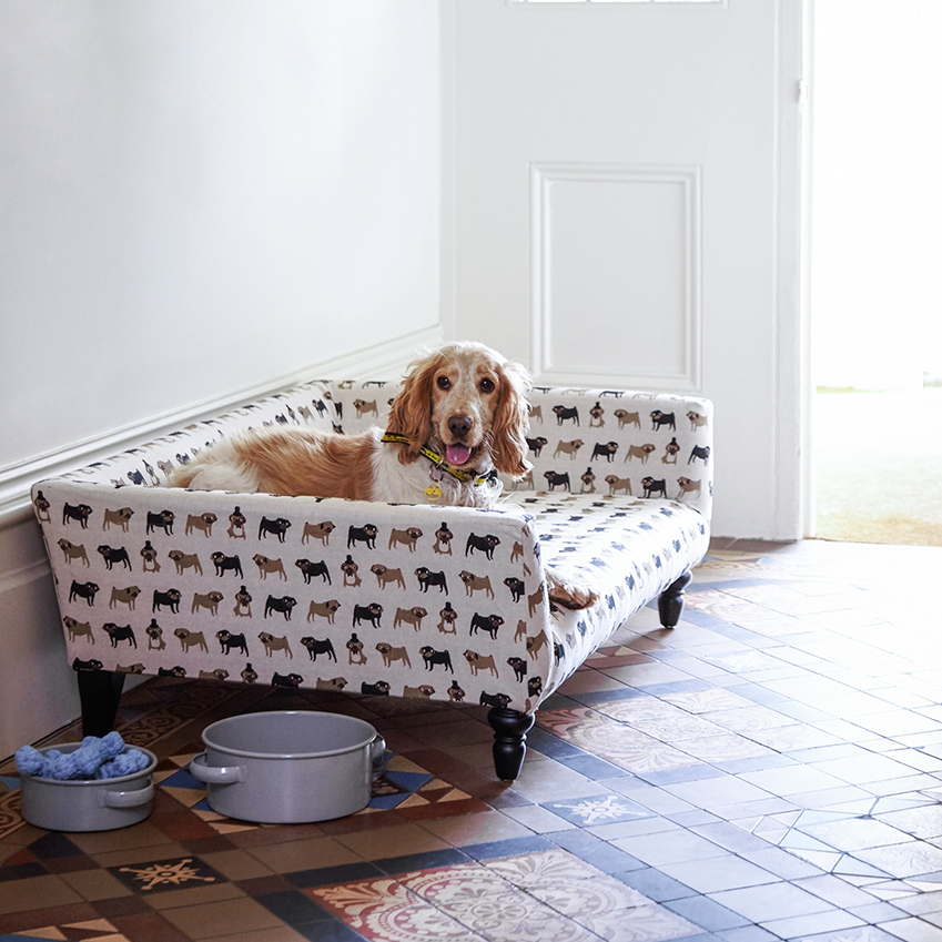 What a fun print for a this practical pet palace!