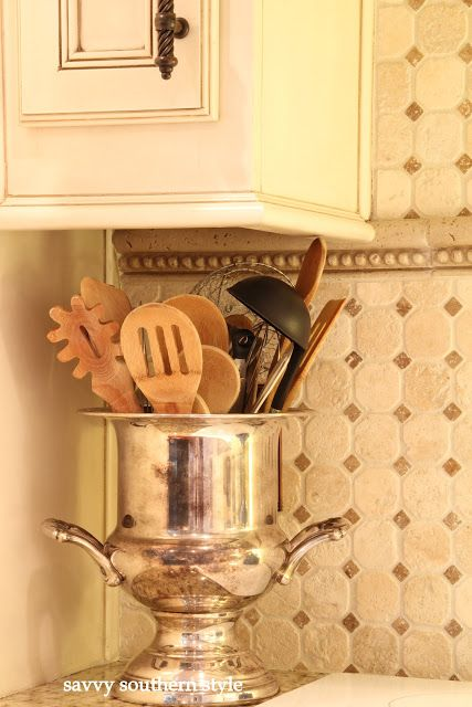 Not throwing a New Years party any time soon? Repurpose that vintage silver champagne bucket for utensils!