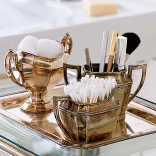 Antique silver as bathroom accessories!