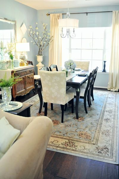 Dining areas and tables provide the perfect space for a unique area rug.