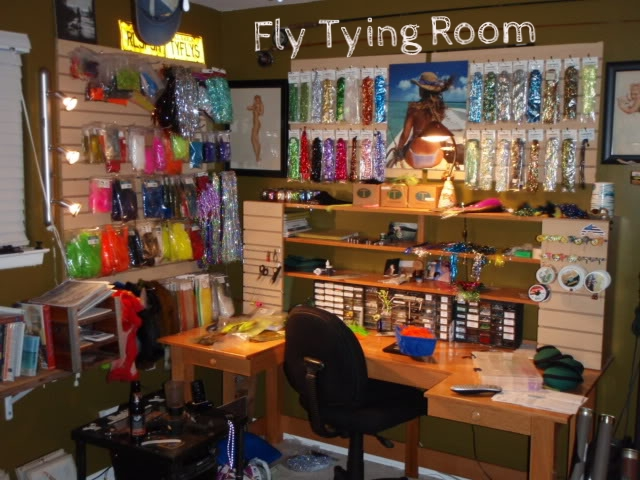 Fly fishing dates back to the 2nd century!  The art of fly fishing is as intricate as tying the fly(bait).   Just look at all the product that goes into making these flies. Here is the perfect MAKER SPACE to tie everything from your Nymph to your Woolly Bugger!