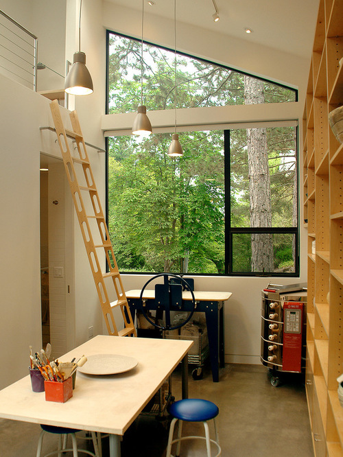 This beautiful potters studio could be in an annex to the house.  The kiln gets pretty hot!