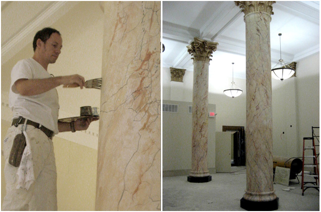 This guy from  Grand Illusion Decorative Painting  located in New York City, is painting these columns.  Maybe you don't have columns this large in your house, but if you did...