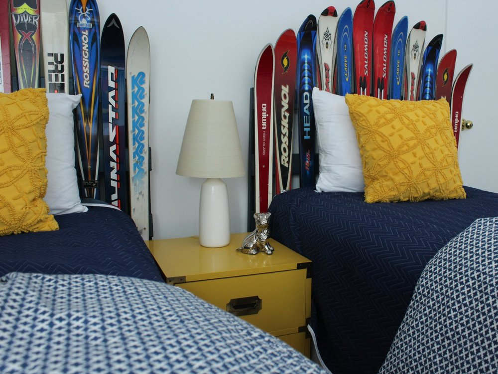 These headboards (made from skis my client no longer used) can go in a boy's or girl's room.  They are fun for any kid who skis, no matter what the age!
