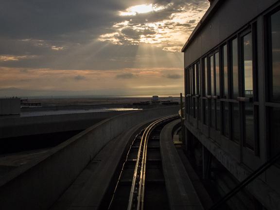 Riding the Air Tran at SFO International Airport./ ©Stella Kalaw