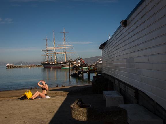 Sunbathing near Hyde Street Pier. San Francisco,CA./ ©Stella Kalaw