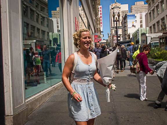 Happy Woman with a Boquet. Powell Street. San Francisco, CA/ ©Stella Kalaw
